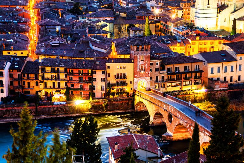Aerial view of the old town Verona, Italy. Illuminated bridge with other landmarks. Verona, Italy. Aerial view of the old town Verona, Italy. Illuminated bridge stock photography