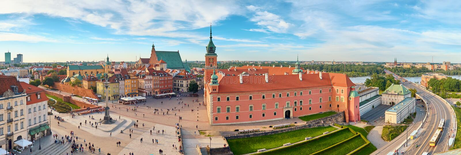 Aerial view of old town in Warsaw, Poland. On a summer day, panoramic image stock photos