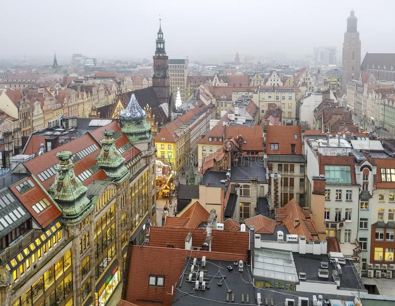 Aerial view on old town of Wroclaw at cold winter evening stock images