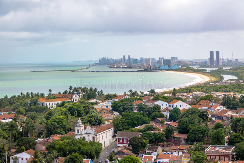 Aerial view of Olinda and Recife skyline - Olinda, Pernambuco, Brazil. Aerial view of Olinda and Recife skyline in Olinda, Pernambuco, Brazil stock photos