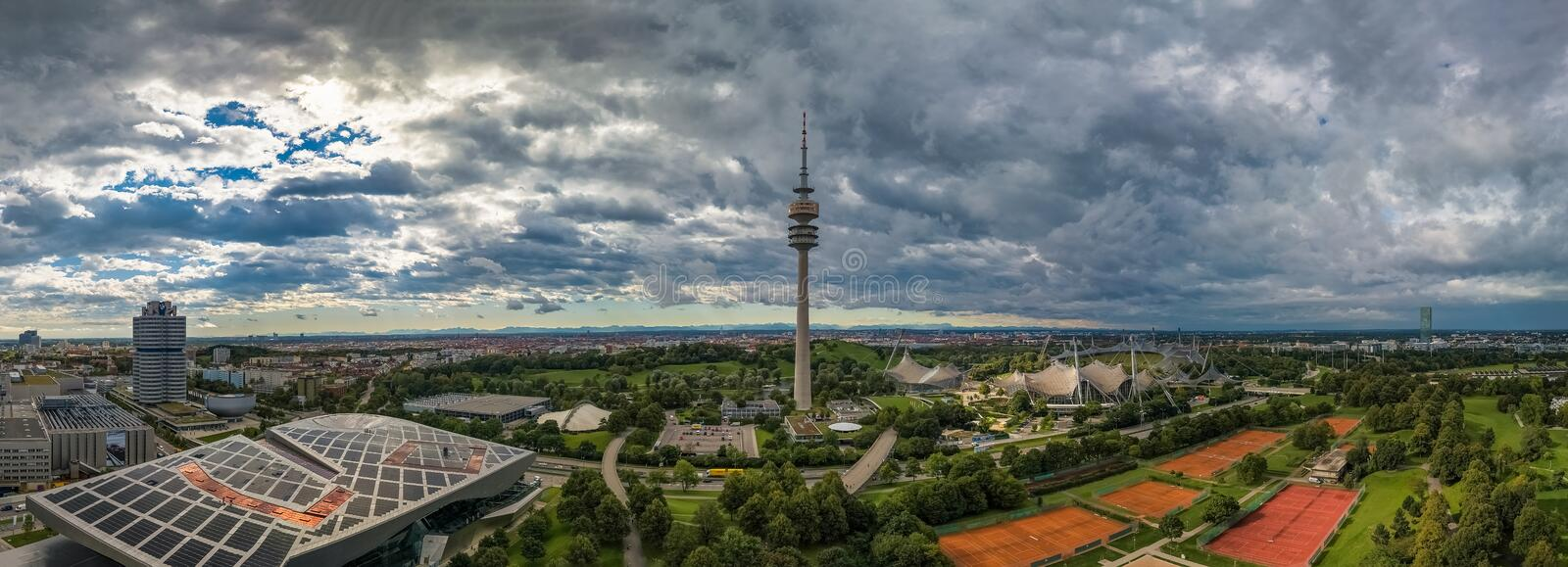 Aerial view of Olympiapark and the Olympiaturm Olympic Tower Munich. royalty free stock photography