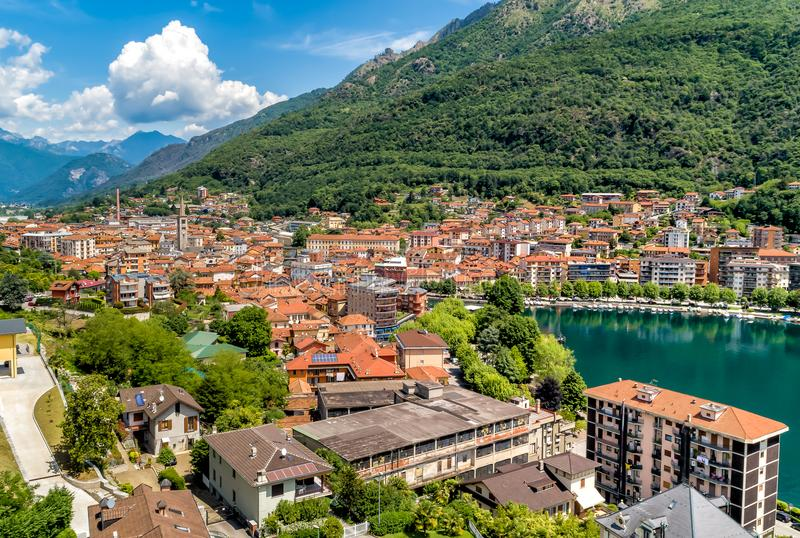 Aerial view of Omegna and Lake Orta, located in Piedmont, Italy royalty free stock image