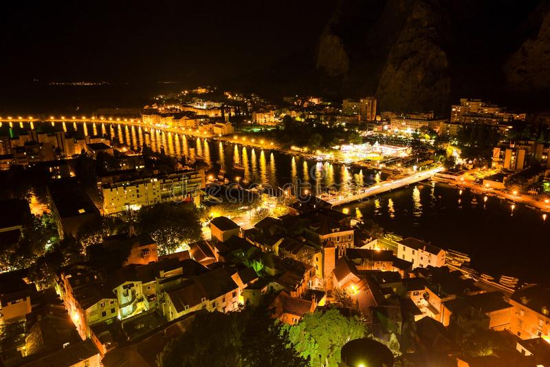 Aerial View of Omis and Cetina River at Night, Dalmatia stock photo