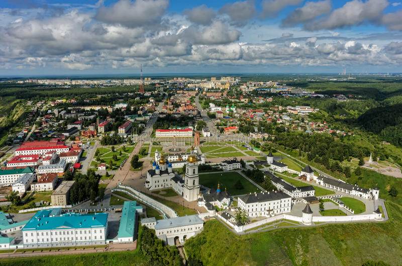 Aerial view onto Tobolsk Kremlin. Tobolsk, Russia - July 15, 2016: Bird eye view onto Tobolsk Kremlin. Tyumen region stock photography