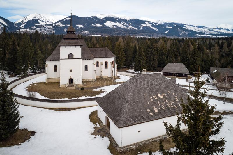 Aerial view of open-air museum in Pribylina, Slovakia stock image
