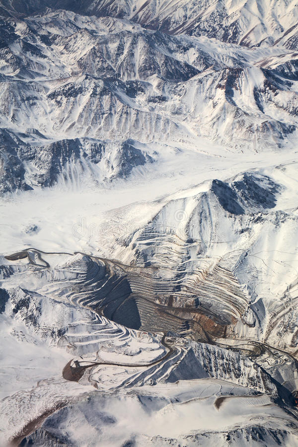 Download Aerial View Of Open-pit Mine Under Snow, Chile Stock Image - Image: 16542489