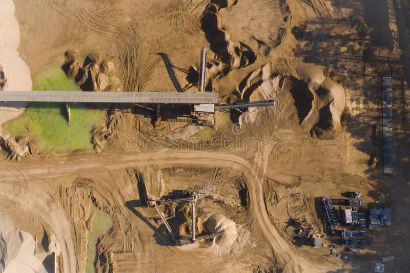 Aerial view of opencast mining quarry. Industrial place view from above royalty free stock photography