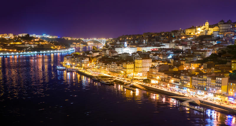 Aerial view of Oporto city at night royalty free stock photo