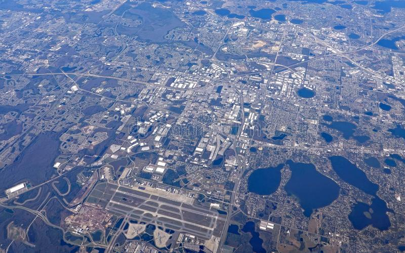Aerial view of the Orlando International Airport royalty free stock photo