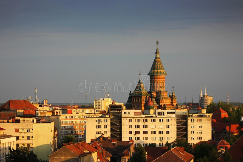 Aerial view of the Orthodox Cathedral Timisoara. Aerial view of the Orthodox Cathedral and other buildings in Timisoara, Timis County, Romania stock photography