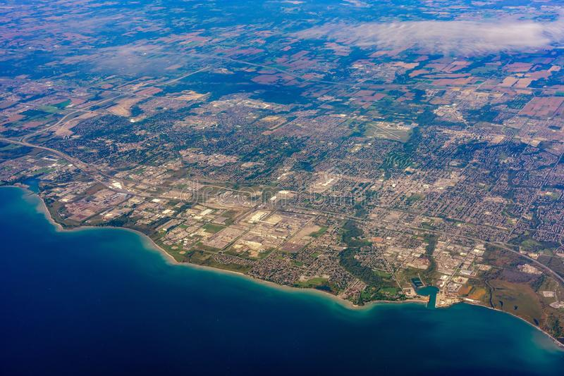 Aerial view of the Oshawa area cityscape. At Canada royalty free stock images