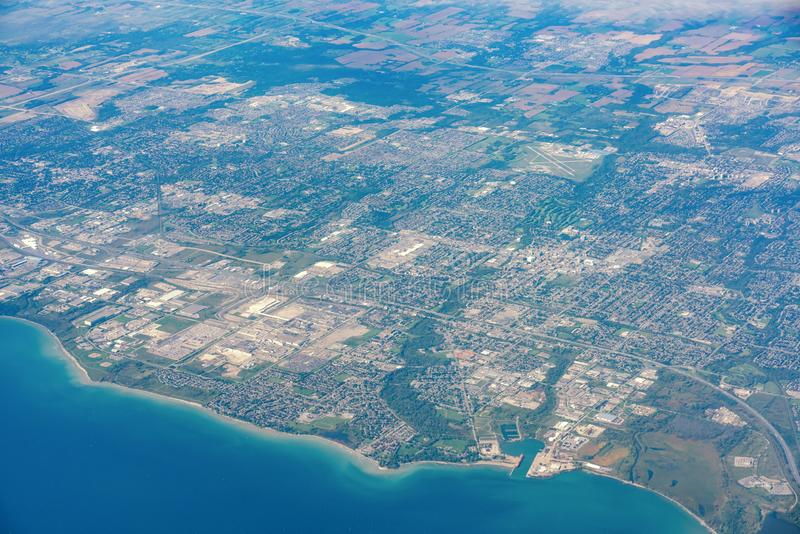 Aerial view of the Oshawa area cityscape. At Canada stock image