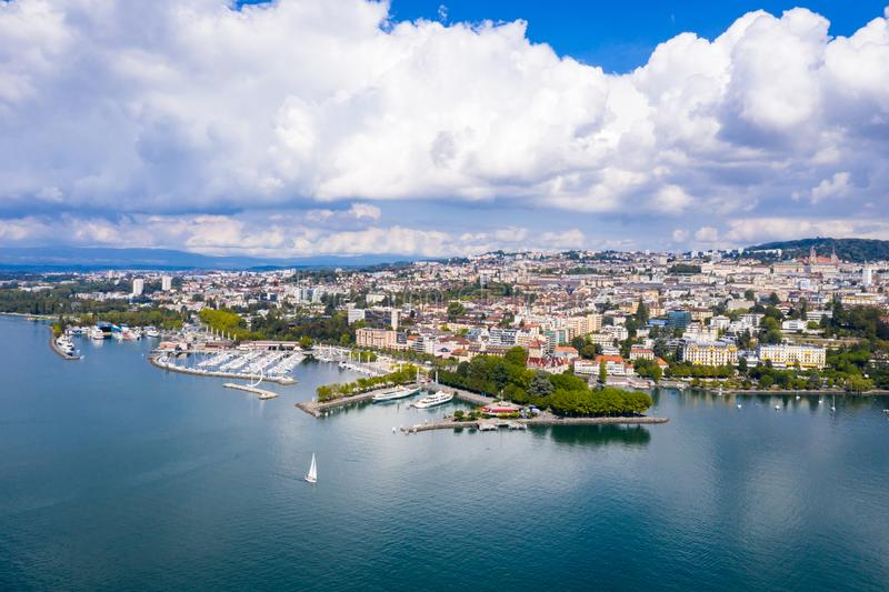 Aerial view of Ouchy waterfront in Lausanne Switzerland. Aerial view of Ouchy waterfront in Lausanne, Switzerland royalty free stock photos