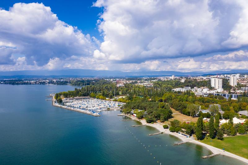 Aerial view of Ouchy waterfront in Lausanne Switzerland. Aerial view of Ouchy waterfront in Lausanne, Switzerland stock photo