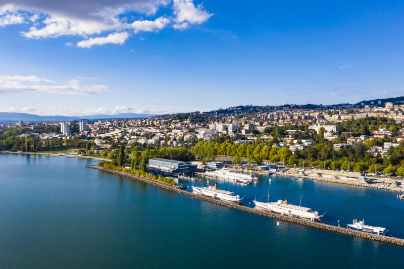 Aerial view of Ouchy waterfront in Lausanne Switzerland. Aerial view of Ouchy waterfront in Lausanne, Switzerland royalty free stock images