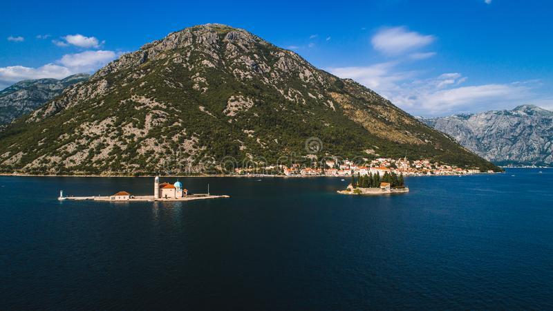 Aerial view of the Our Lady of the Rocks church and Island of Sveti Djordje in the Kotor Bay near Perast town, Montenegro royalty free stock photos