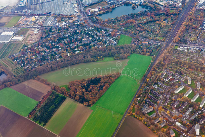 Aerial view of outskirts of Dusseldorf, Germany stock image