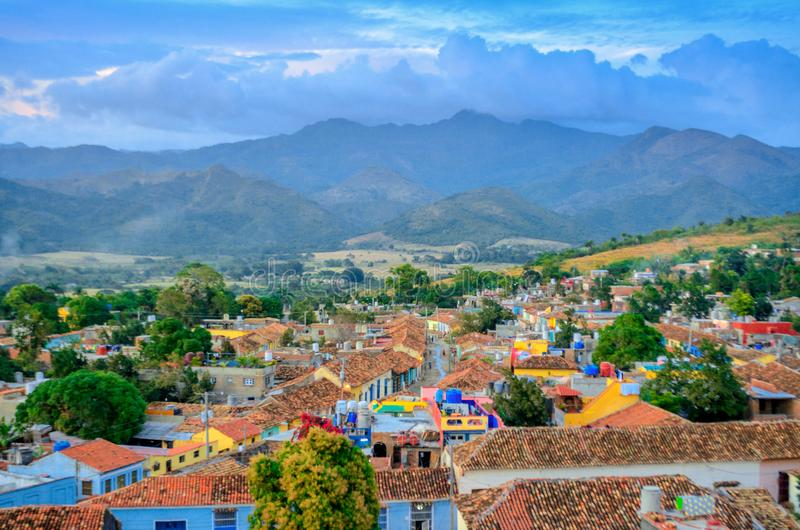 Aerial view, Outskirts of Trinidat at sunset. Cuban Province stock photos