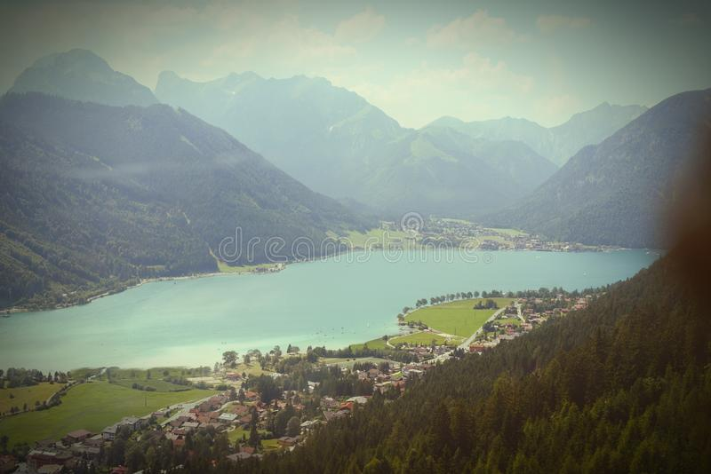Aerial view over the Aachensee lake in tyrol/ Austria royalty free stock image