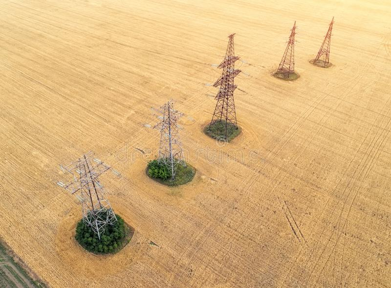 Aerial view over the agricultural fields. stock photos