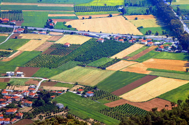 Aerial view over agricultural fields stock photography
