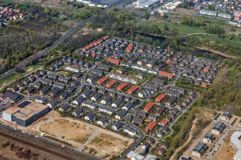 Aerial view over Berlin suburb, Germany royalty free stock photo