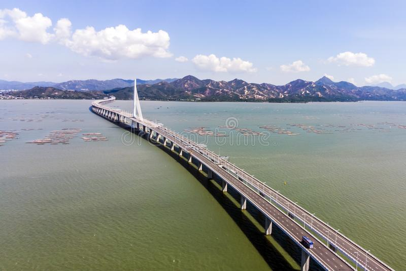 Bridge Of Houhai Bay To Hong Kong Island stock image