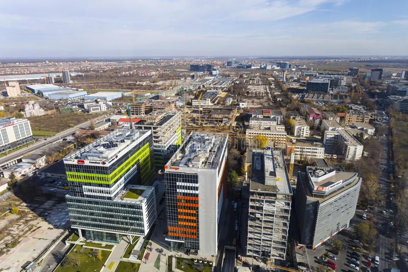 Aerial view over business disctrict royalty free stock images