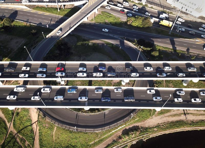 Aerial view over busy interchange at rush hour stock image