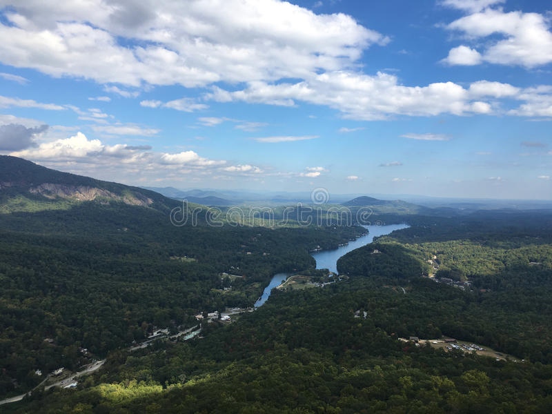 Aerial view over Chimney Rock State Park, North Carolina stock images