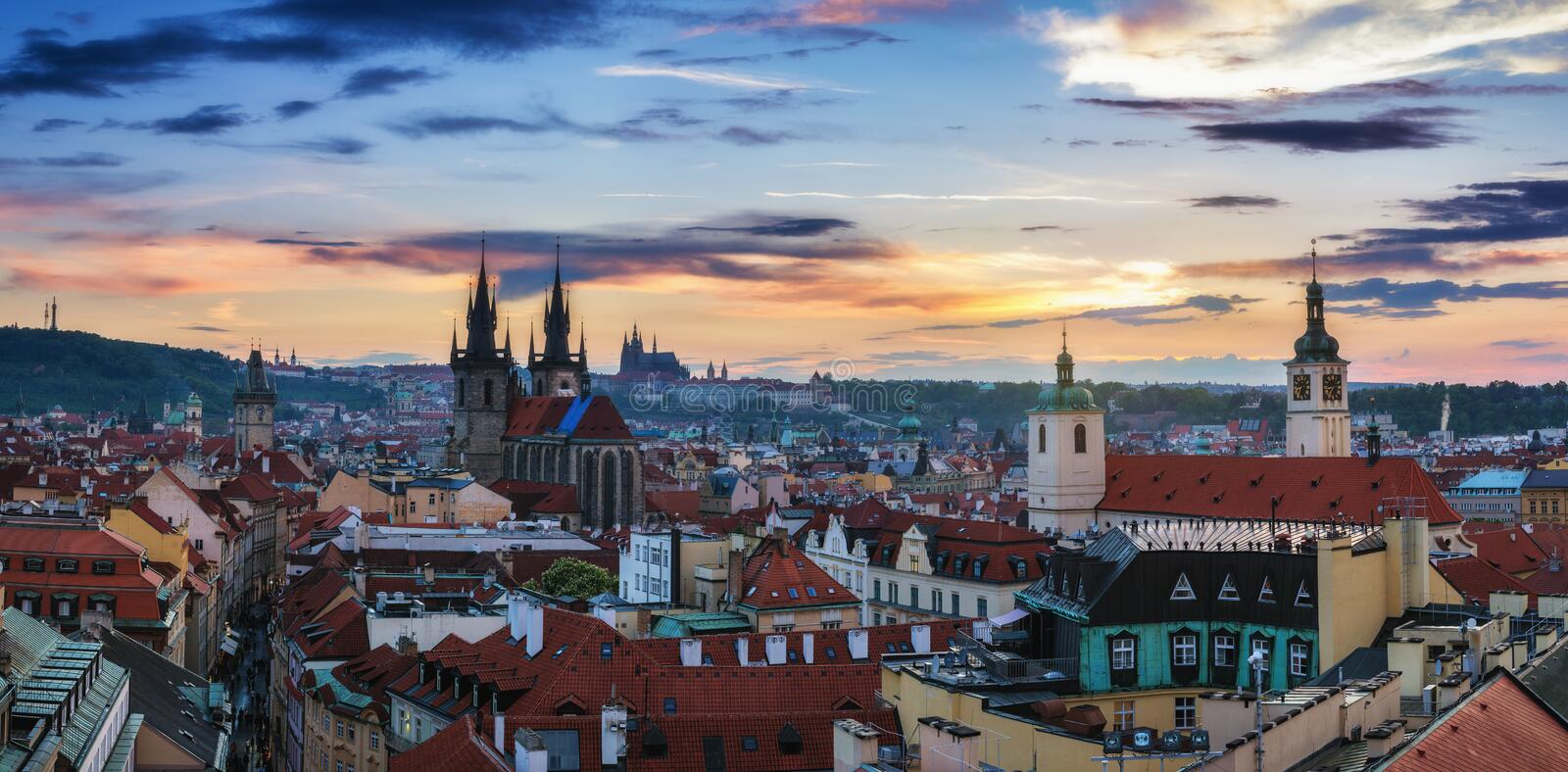 Aerial view over Church of Our Lady before Tyn, Old Town and Prague Castle at sunset in Prague, Czech Republic royalty free stock image