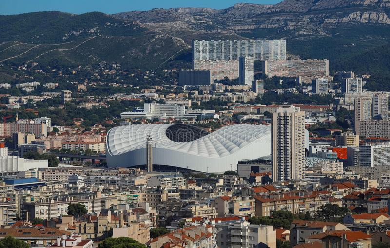 Aerial view over the city of Marseille, the Stade Velodrome. stock photo