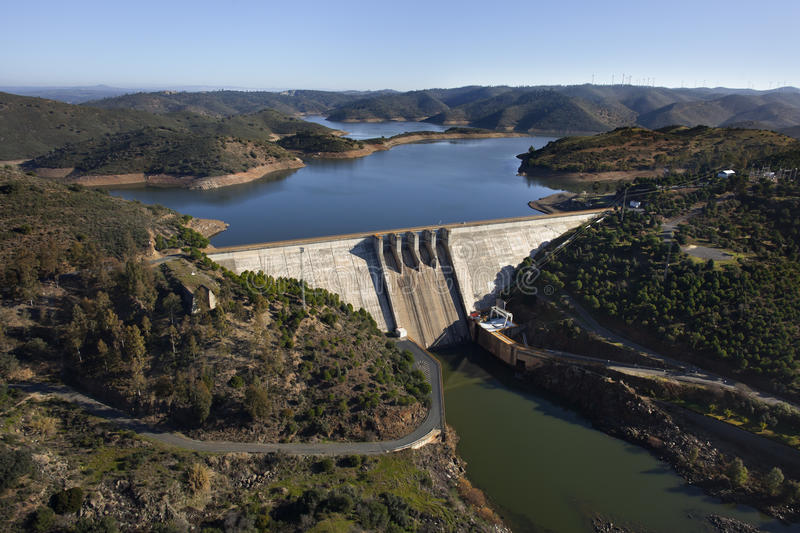Aerial view over a dam stock photography