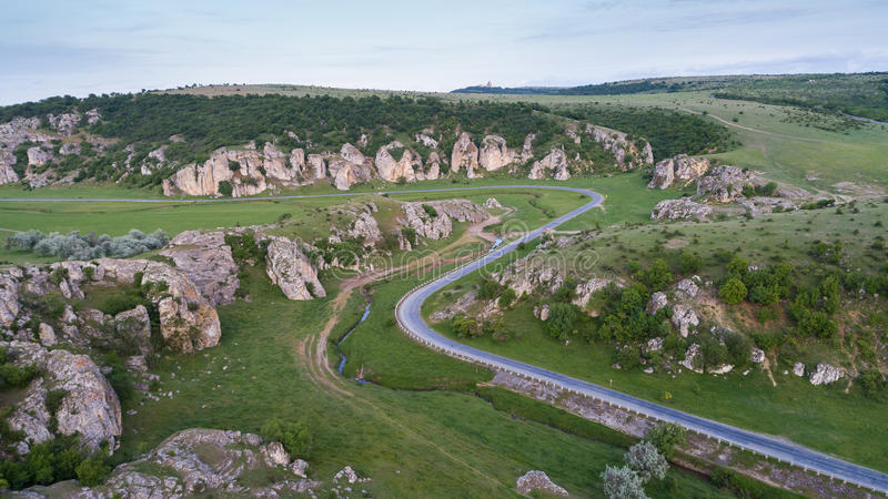 Aerial view over Dobrogea Gorges Cheile Dobrogei, Romania. Mountain landscape with some of the oldest limestone rock formations in Europe, in Dobrogea Gorges stock photo