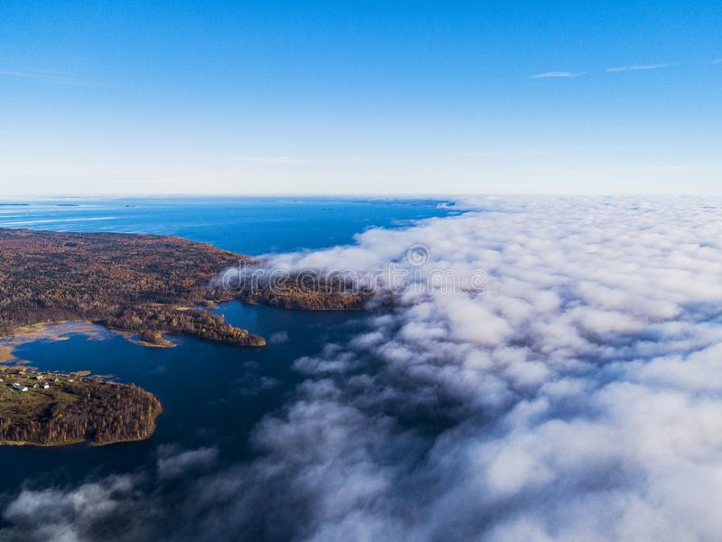 Aerial view over forest during vibrant autumn colors. Aerial view of seashore and clouds. Coastline with sand and water. Aerial dr stock photography
