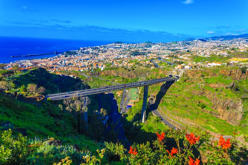 Aerial view over Funchal city, Madeira royalty free stock image
