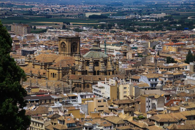 Aerial view over Granada from Alhambra with cathedral Catedral renacentista, Andalusia royalty free stock images