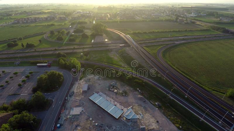 Aerial view over highway, controlling traffic movement and possible accidents. Stock photo royalty free stock images