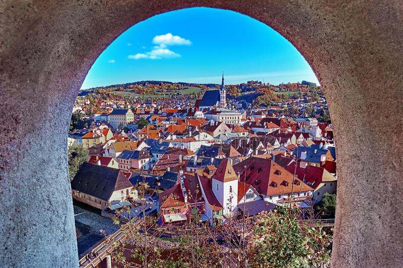 Aerial view over historic centre of Chesky Krumlov old town in the South Bohemian Region of the Czech Republic. On Vltava River. UNESCO World Heritage Site royalty free stock photos
