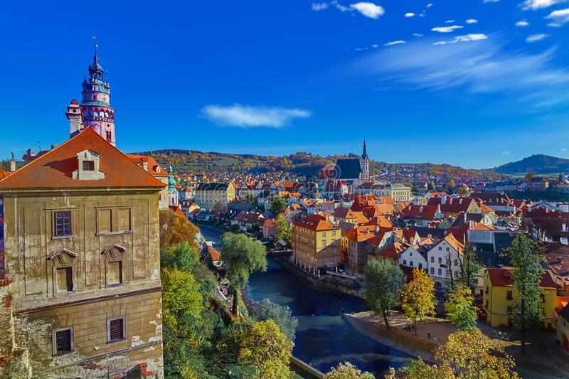 Aerial view over historic centre of Chesky Krumlov old town in the South Bohemian Region of the Czech Republic. On Vltava River. UNESCO World Heritage Site royalty free stock photography