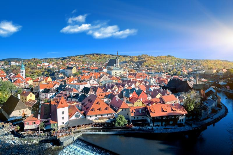 Aerial view over historic centre of Chesky Krumlov old town in the South Bohemian Region of the Czech Republic on Vltava River. Aerial view over historientre of stock images