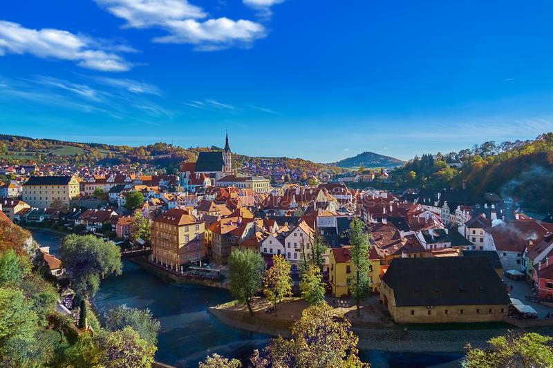 Aerial view over historic centre of Chesky Krumlov old town in the South Bohemian Region of the Czech Republic. On Vltava River. UNESCO World Heritage Site royalty free stock photo