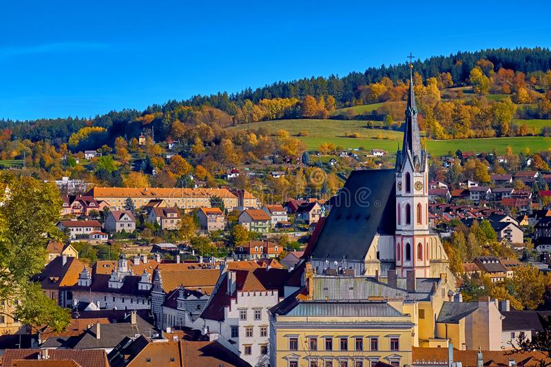 Aerial view over historic centre of Chesky Krumlov old town in the South Bohemian Region of the Czech Republic on Vltava River. Aerial view over historientre of royalty free stock photography
