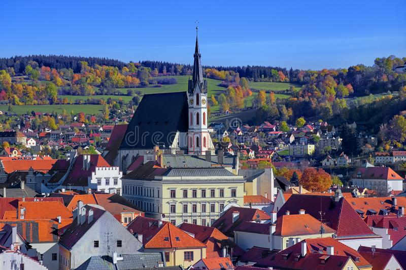 Aerial view over historic centre of Chesky Krumlov old town in the South Bohemian Region of the Czech Republic on Vltava River. Aerial view over historientre of royalty free stock image