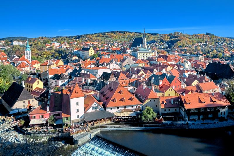 Aerial view over historic centre of Chesky Krumlov old town in the South Bohemian Region of the Czech Republic on Vltava River. Aerial view over historientre of royalty free stock photos