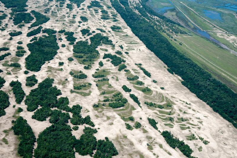 Aerial View Over Letea Forest in the Danube Delta, Romania royalty free stock photography