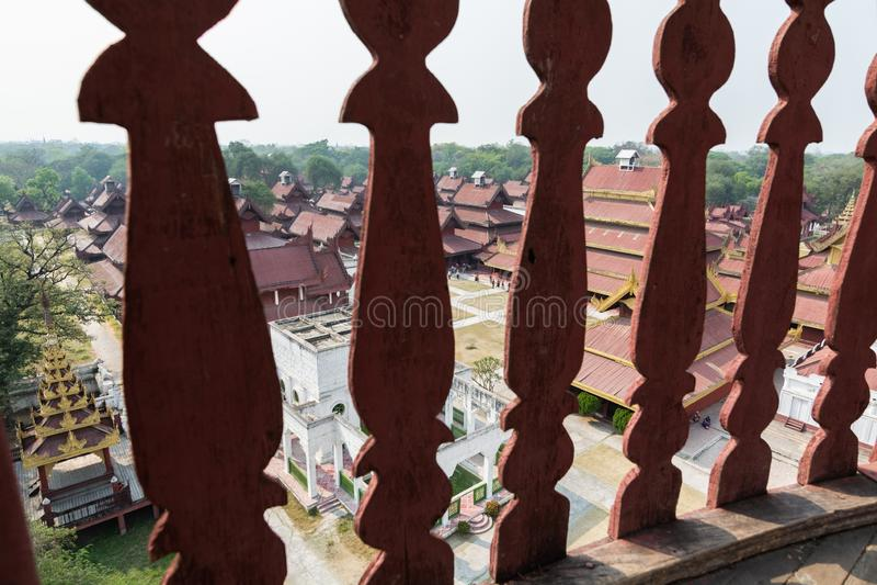 Aerial view over Mandalay Royal palace backyard, Myanmar. View through the balustrade, burma, burmese, residence, king, kingdom, luxury, ancient, history, old stock images