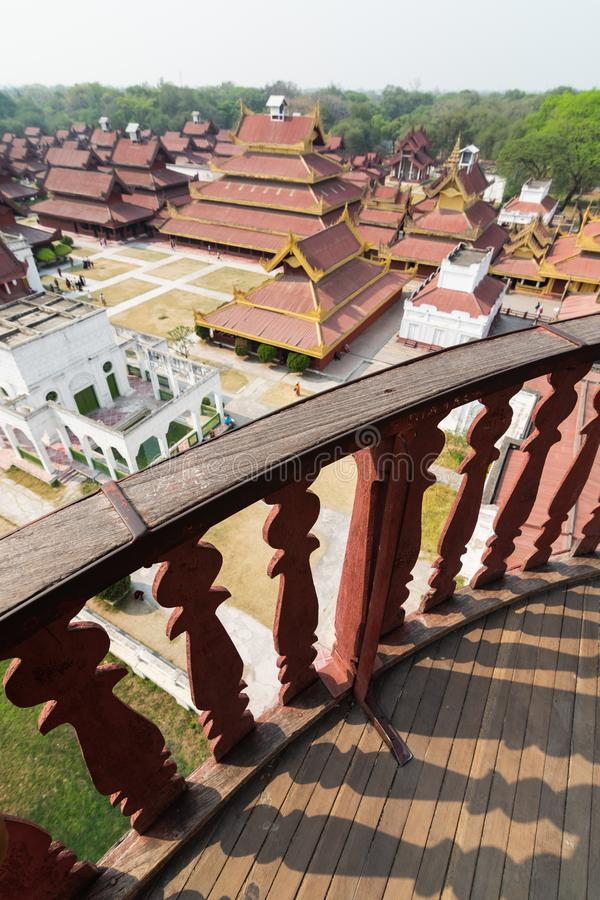 Aerial view over Mandalay Royal palace backyard, Myanmar. Wooden porch on the foreground, burma, burmese, residence, king, kingdom, luxury, ancient, history stock images