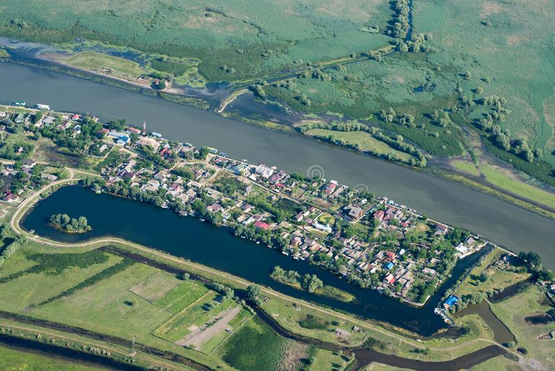 Aerial View Over Mila23 & x28;Mile 23& x29; Village, in the Danube Delta stock images
