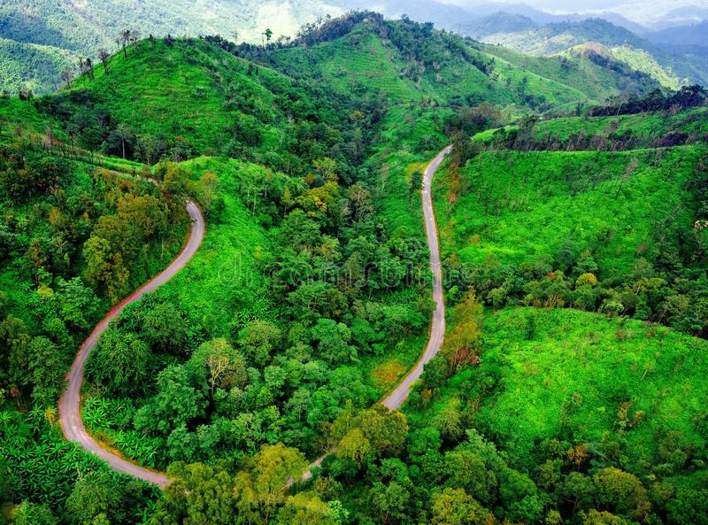 Aerial view over mountain road going through forest. Landscape stock photography